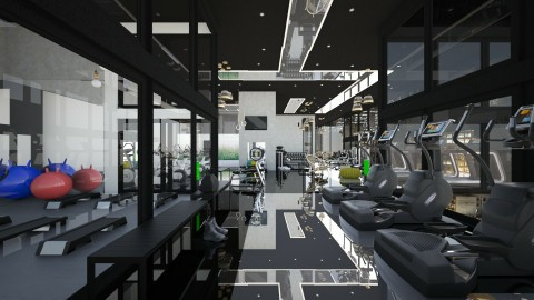 gym with black celling - Modern - by sometimes i am here