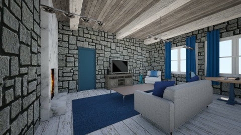 stone living - Living room - by Mitj Bowman