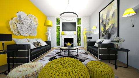 Bright Yellow  - Living room - by OnceInALifetime