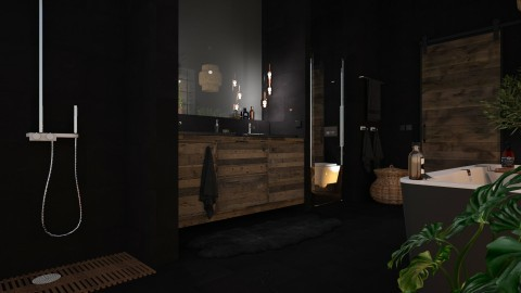 Black and wood bathroom - by MandyB84