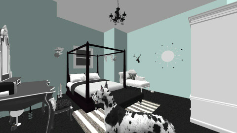 mint, black, and white - Bedroom - by aquifina