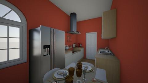 cuisine blanche et rouge - Classic - Kitchen - by melanie99