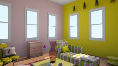 pink and yellow living ro - Living room - by avery56