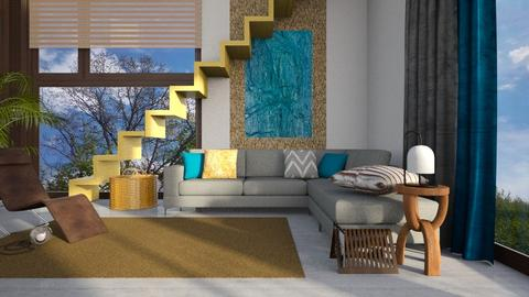 Yellow stairs - Living room - by Inna_Inas