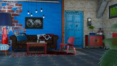 Red and Blue - Living room - by meggle
