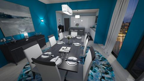 Blue Dining Room_Kitchen - Modern - Dining room - by pfeilswdm