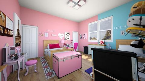 Fraternal Twins Bedroom - Bedroom - by SammyJPili