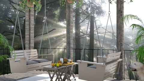 Design 224 Morning at Cabin in Woods - Garden - by Daisy320