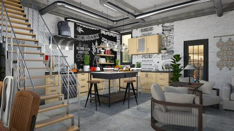 Cool Industrial Kitchen - Kitchen - by JarkaK