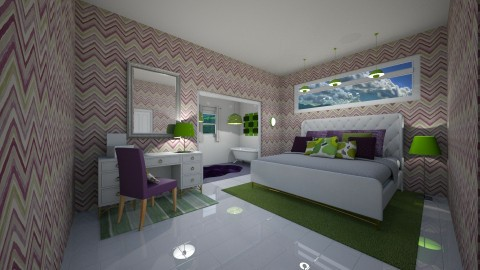 Purple and Green Bedroom - by llama18