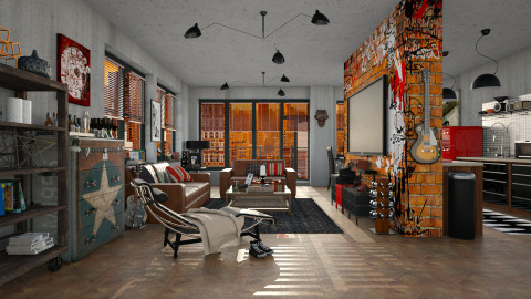 Young and Single - Masculine - Living room - by evahassing