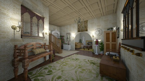 antique foyer and living  - by kla