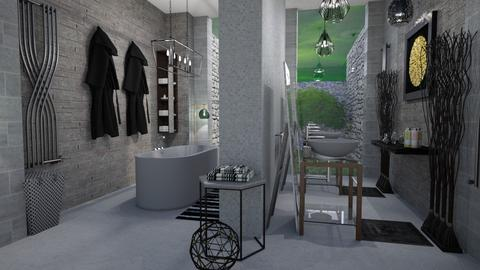 greyish bathroom - Bathroom - by Moonpearl