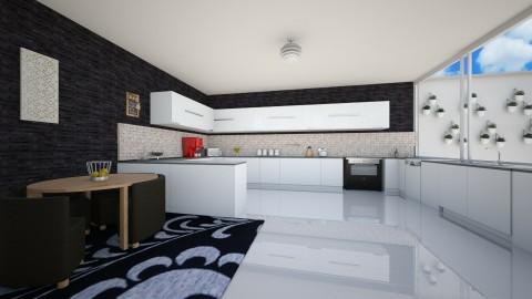 black white kitchen - Kitchen - by fatycuisine