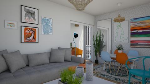 laranja e azul - Living room - by Tainaraa