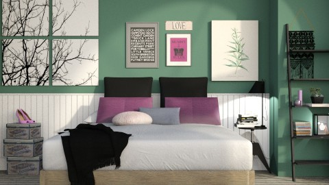 Purple and Green - Modern - Bedroom - by ArcticMoon