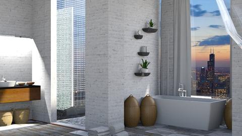 brick and windows - Modern - Bathroom - by NEVERQUITDESIGNIT