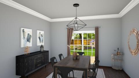 sleek metallic diningroom - Rustic - Dining room - by McMansion Hell
