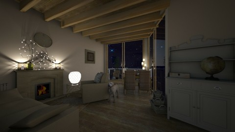 Calm_House_night - Classic - Living room - by Wildflibby