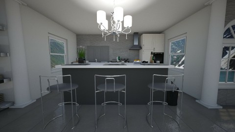 Grey Small Kitchen - by alissiaxxx