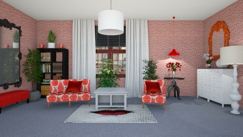 Red Grey White - Living room - by KarmaKitten