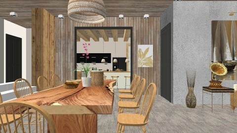 Zen Dining Detail 3 - Dining room - by cervidaeus