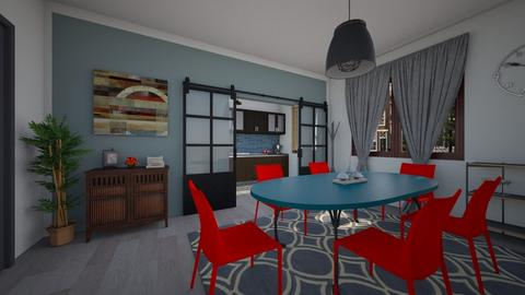 red and blue - Eclectic - Dining room - by bibi_pat