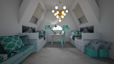bedroom 1 teal - Modern - Bedroom - by NEVERQUITDESIGNIT