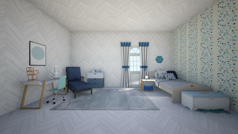 blue iconic - Modern - Bedroom - by wildvioletkiss