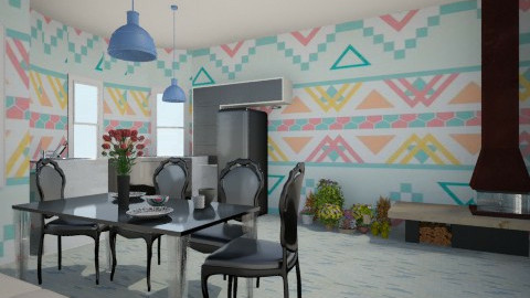 blue kitchen - Country - Kitchen - by Karine Hakobayan