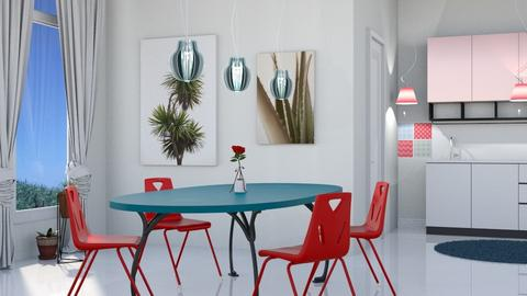 M_Red chairs blue table - Dining room - by milyca8