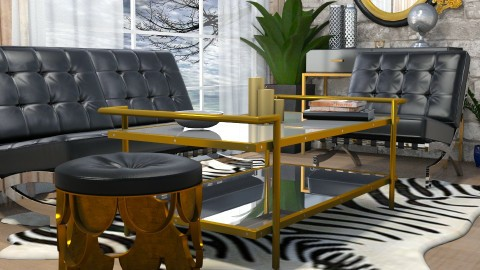 Black and gold - Living room - by evute44