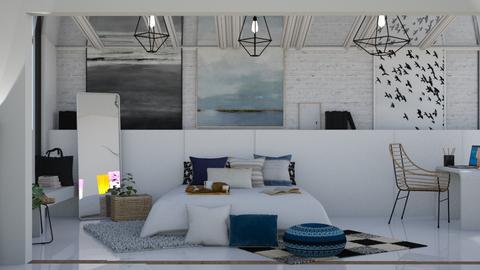 light blue  - Minimal - Bedroom - by NEVERQUITDESIGNIT