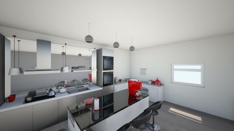 A Splash of Red _ Kitchen - Modern - Kitchen - by RoomstylerJD