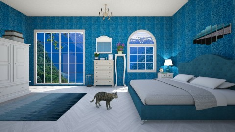Blue bedroom - Bedroom - by SilviettaG