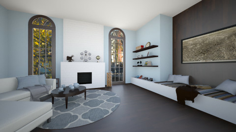 White and Wood - Living room - by Brigid123