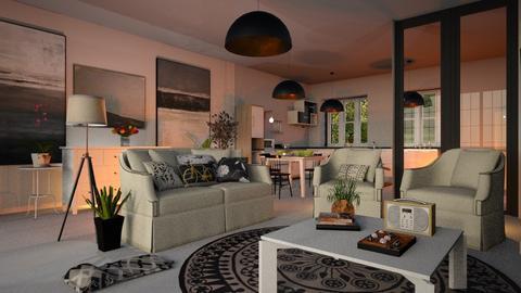 White_Sofas - Living room - by ZuzanaDesign