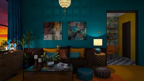Orange Carpet - Living room - by Zephyrs