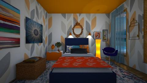 BedR orange blue - Bedroom - by Tara T