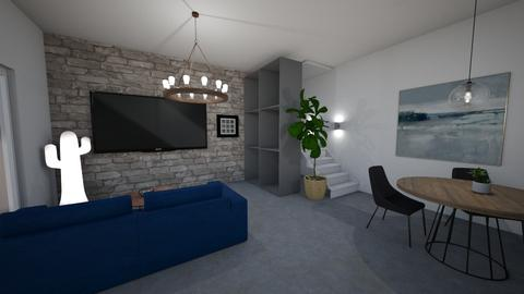 Blue in Concrete - Living room - by Ginntare