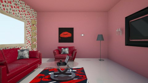 Red Living Room - Living room - by pink_flowers