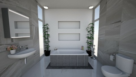 Modern Grey Bathroom - by alissiaxxx