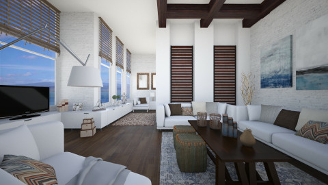 wood and white - Living room - by Senia N