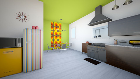 Colorblock Kitchen - Retro - Kitchen - by manicpop