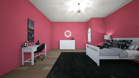 Black and Pink - Bedroom - by kiki_lax1