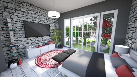 Red Bedroom 3 - Modern - Bedroom - by banusitki