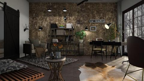 Industrial_Living - Living room - by ZuzanaDesign