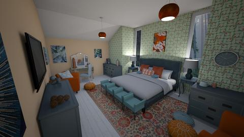 Blue and Orange BR - Bedroom - by LooseThreads