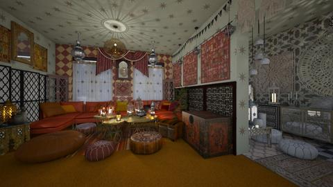 Orange Carpet - Living room - by AlocinB