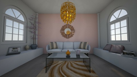 Copper pink living room - by sarahbatty